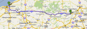 Cleveland to Bloomsburg, PA